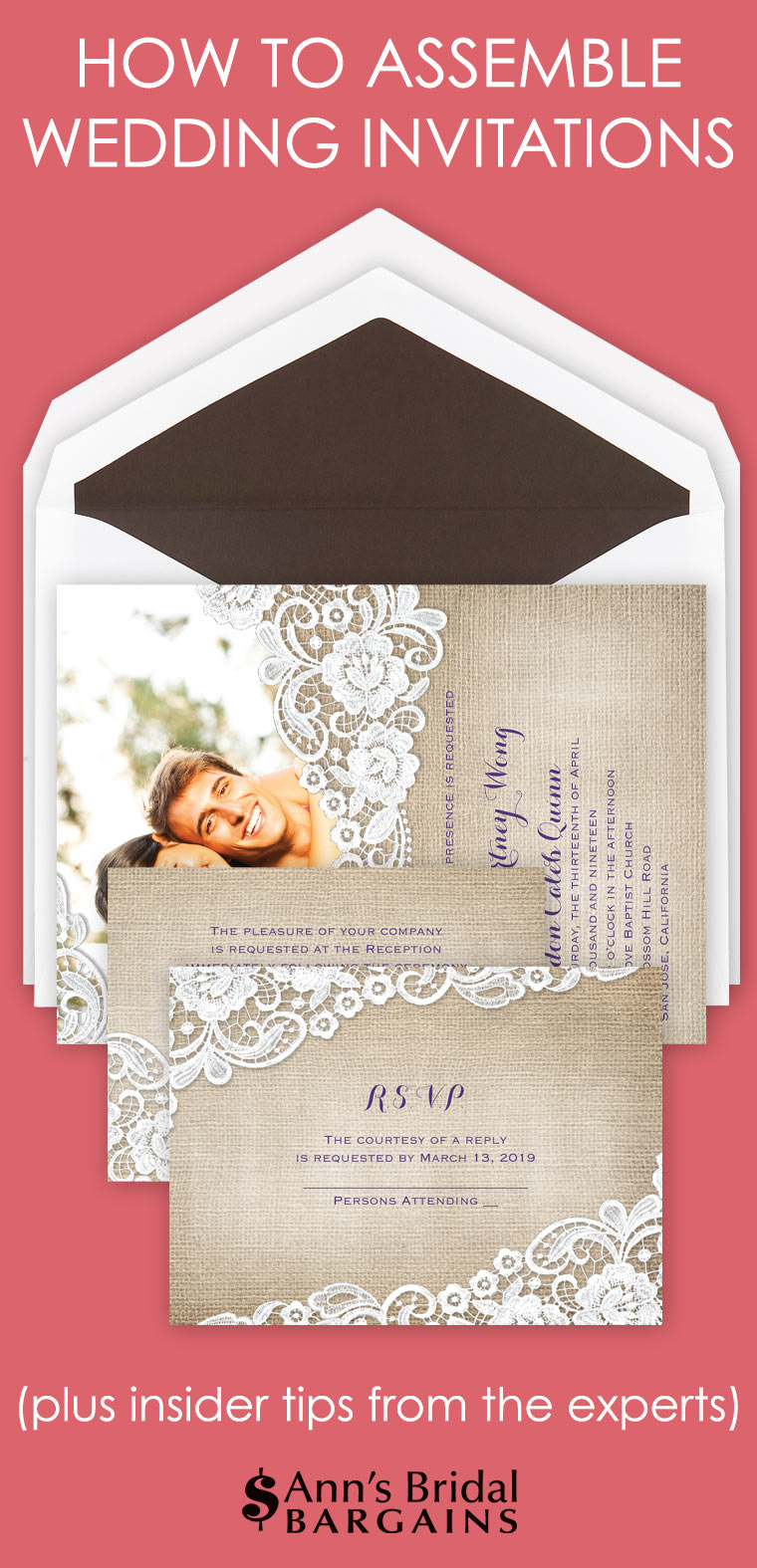 How to Assemble Wedding Invitations | Ann\'s Bridal Bargains