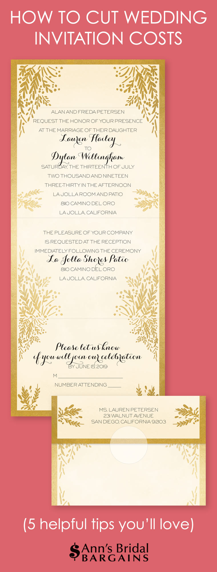 How to cut wedding invitation costs ann 39 s bridal bargains Wedding invitation cost
