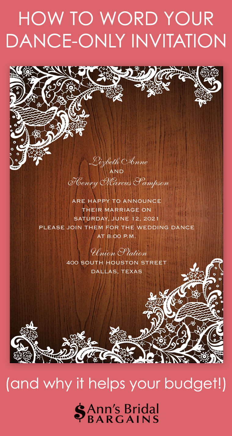 DanceOnly Invitation Wording Anns Bridal Bargains