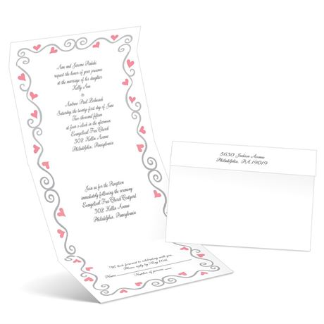Whimsical Hearts - Petal - Seal and Send Wedding Invitation