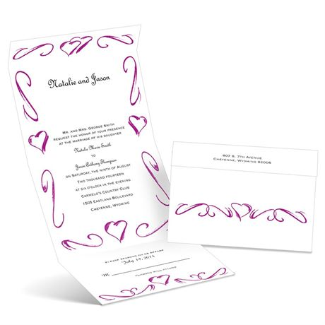 Heartfelt Frame - Amethyst - Seal and Send Wedding Invitation
