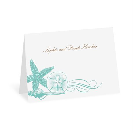 Starfish and Seashells - Lagoon - Thank You Note Folder and Envelope