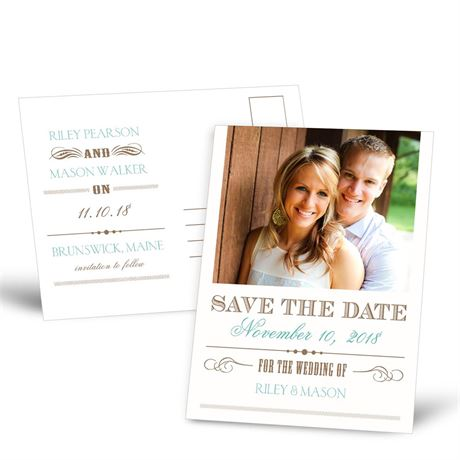 Typography  Save the Date Postcard