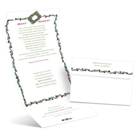 Holly Wreath  Seal and Send Invitation