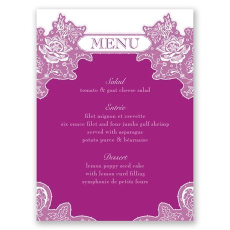 Romantic Details  Menu Card