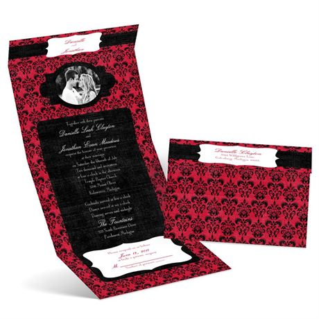 Distressed Damask  Seal and Send Invitation