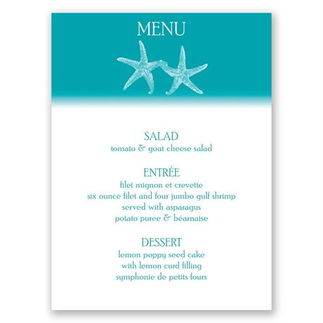 Sweet Starfish  Menu Card