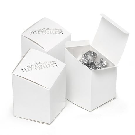 Mr. and Mrs. Prism Favor Boxes  White