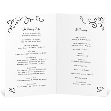 Chalkboard Love Story - Wedding Program