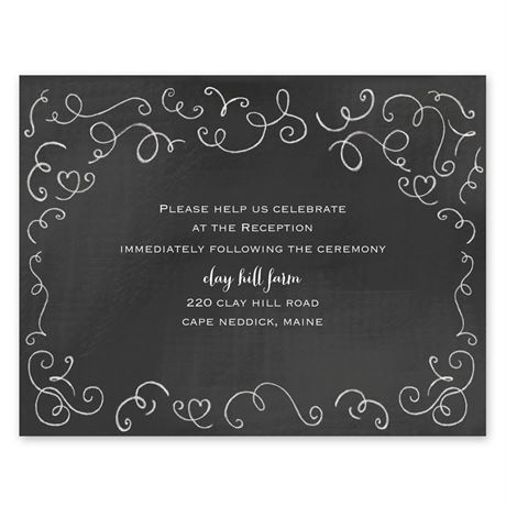 Chalkboard Love Story  Reception Card