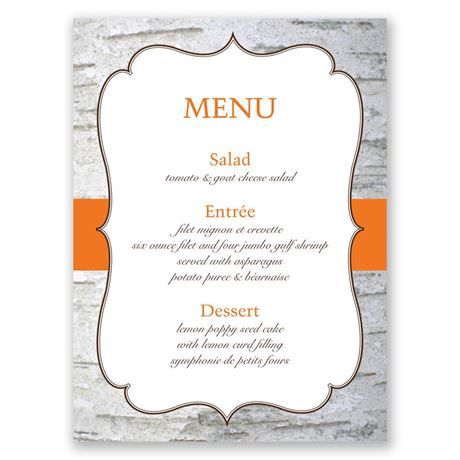 Birch Wood Crest  Menu Card