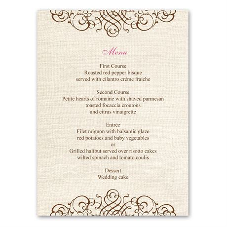 Rustic Love  Menu Card