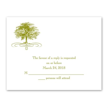 Majestic Oak  Response Card and Envelope