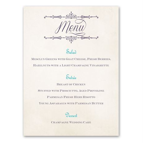 Charmed  Menu Card