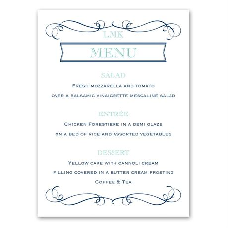 Exhilarating  Menu Card
