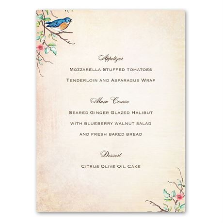 Bluebird Melody  Menu Card