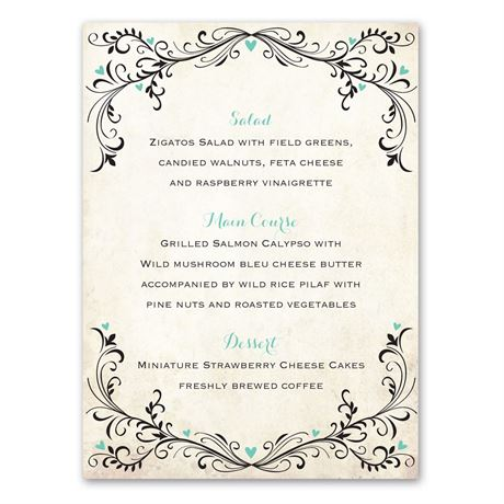 Blossoming Love  Menu Card