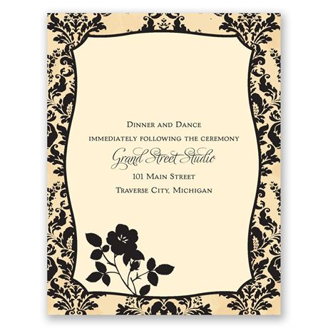 French Floral  Reception Card