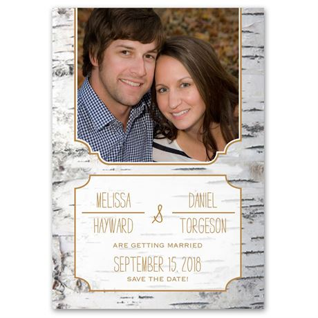 Birch Bark Frame  Save the Date Card
