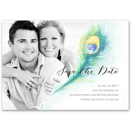 Pretty Peacock  Save the Date Card