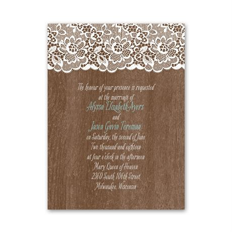 Woodgrain and Lace  Petite Invitation