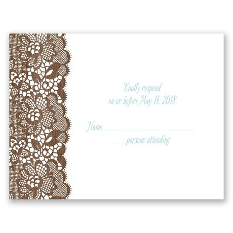 Woodgrain and Lace  Response Card