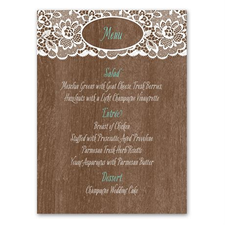Woodgrain and Lace  Menu Card
