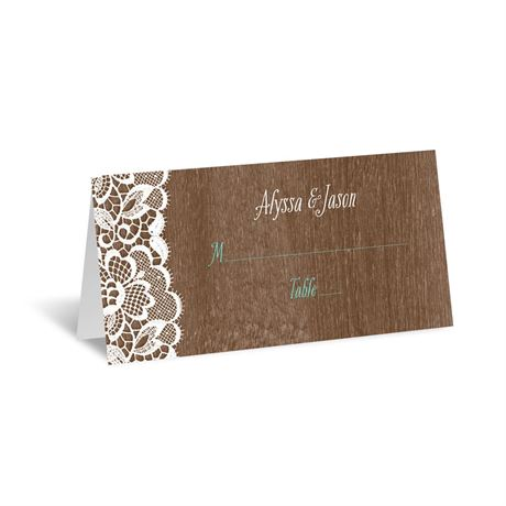 Woodgrain and Lace  Place Card