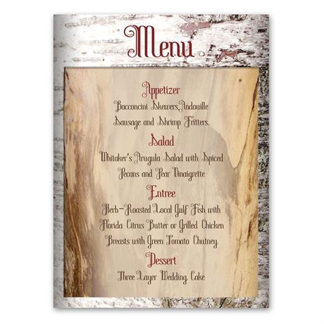 Birch Bark Heart  Menu Card