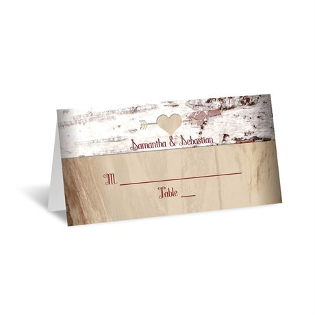 Birch Bark Heart  Place Card
