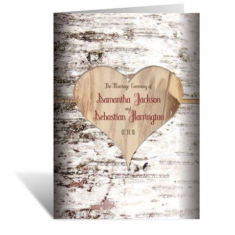 Birch Bark Heart  Wedding Program