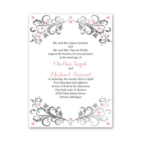 Flowers and Filigree  Petite Invitation