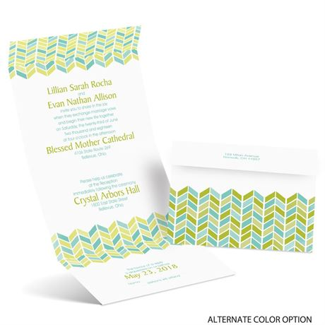 Feathered Chevron - Seal and Send Invitation