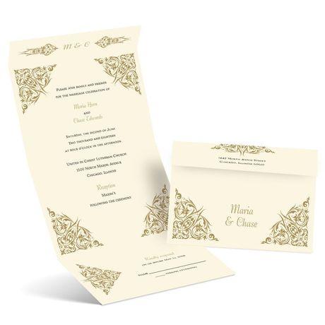 Quaint Corners - Ecru - Seal and Send Invitation