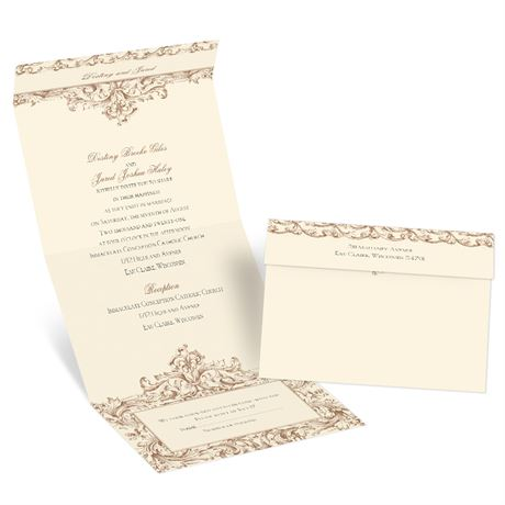 Victorian Romance - Ecru - Seal and Send Invitation