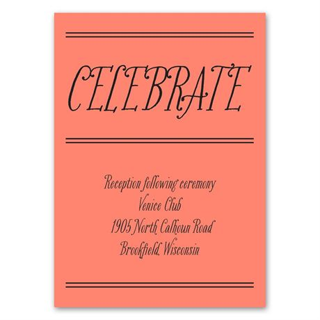 Simple Typography  Reception Card