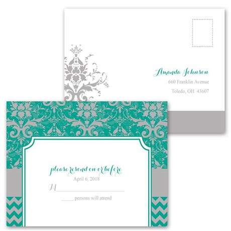 Elegant Patterns - Invitation with Free Response Postcard