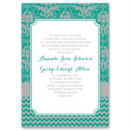 Elegant Patterns  Invitation with Free Response Postcard
