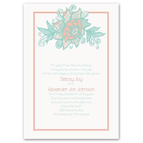 Young Rose  Invitation with Free Response Postcard