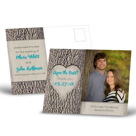 Carved Heart - Save the Date Postcard
