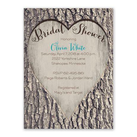 Carved Heart Bridal Shower Invitation