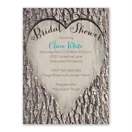 Carved Heart - Bridal Shower Invitation