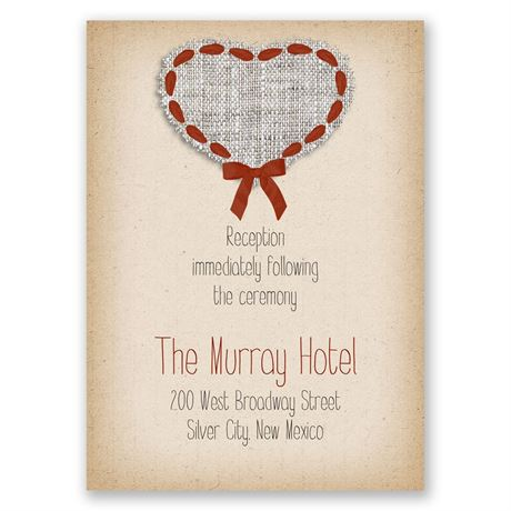 Burlap and Ribbon  Reception Card