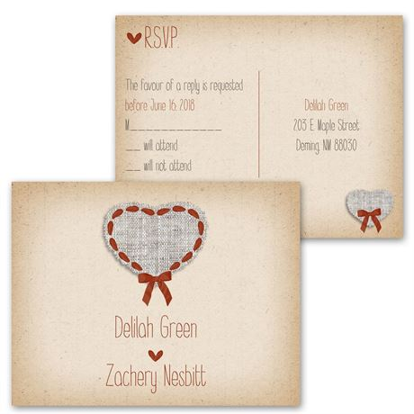 Burlap and Ribbon - Invitation with Free Response Postcard
