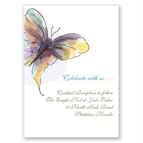 Watercolor Butterfly  Reception Card