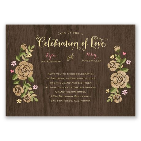 Rustic Whimsy  Invitation with Free Response Postcard