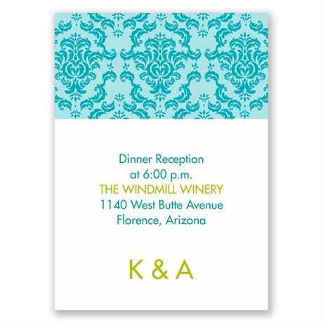 Damask Ampersand  Reception Card