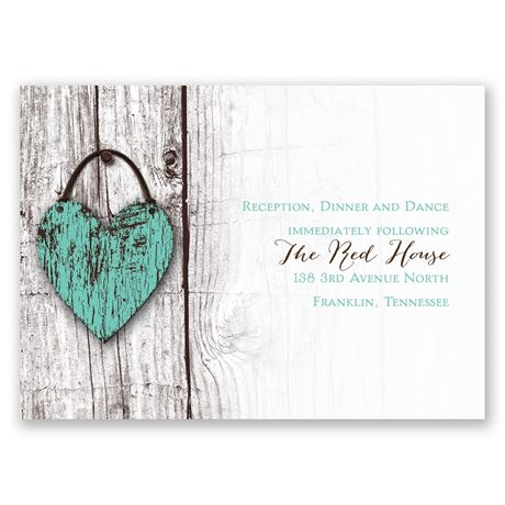 Wood Heart  Reception Card