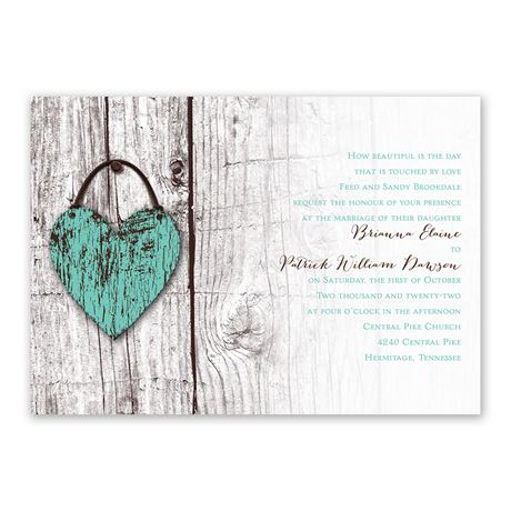 Wood Heart  Invitation with Free Response Postcard