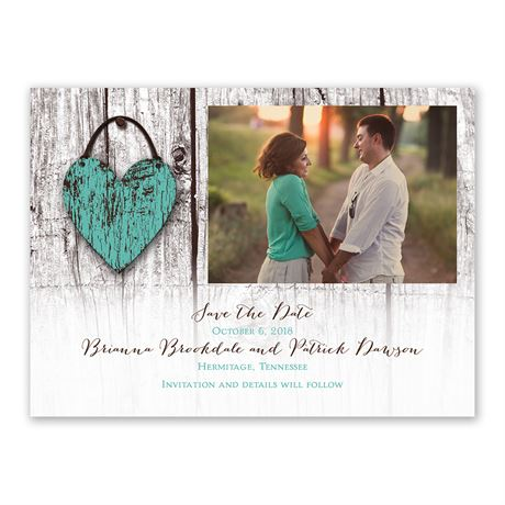 Wood Heart - Save the Date Card